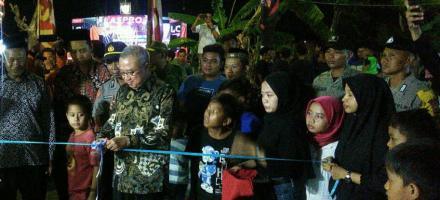 Bupati Bantul Resmikan Jalan Cor Blok Dan Pos Kamling Di Dusun Pandes II Wonokromo